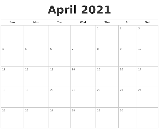Calendar April 2021 PDF Word Excel