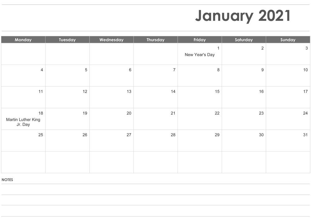 Fillable January 2021 Calendar