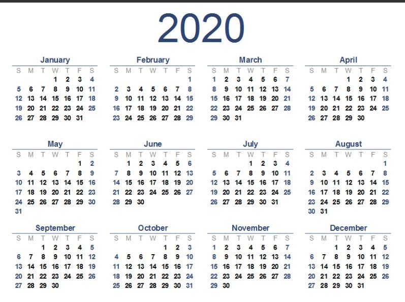Free 2020 Calendar Printable