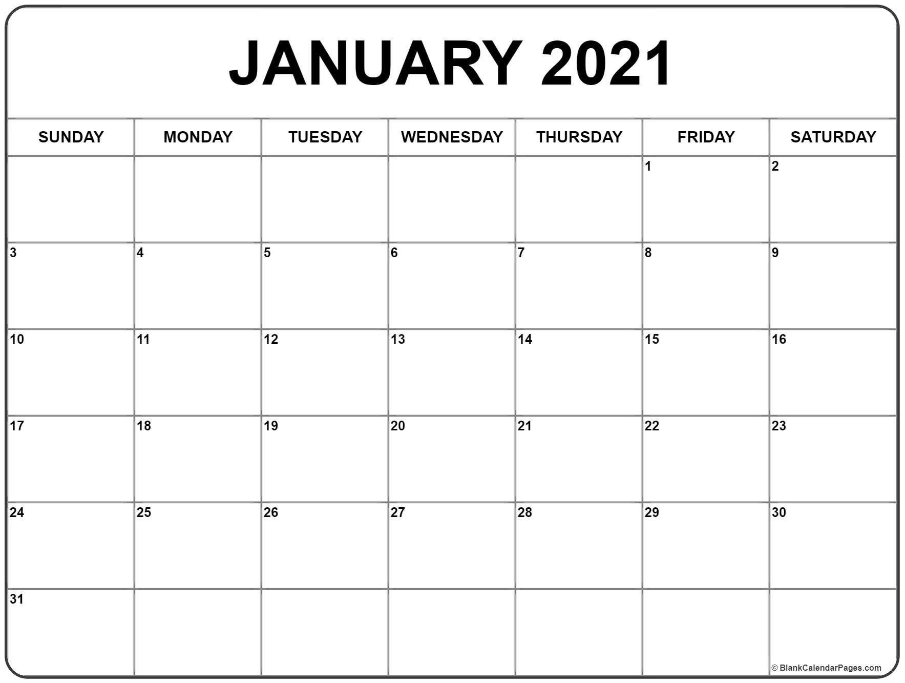 Free Printable Jan 2021 Calendar