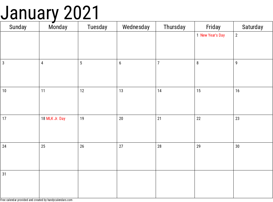 Jan 2021 Calendar with Holidays