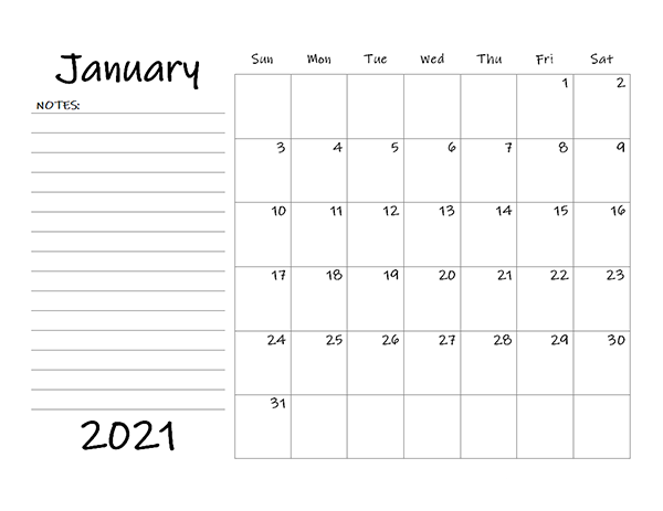 January 2021 Fillable Calendar Template
