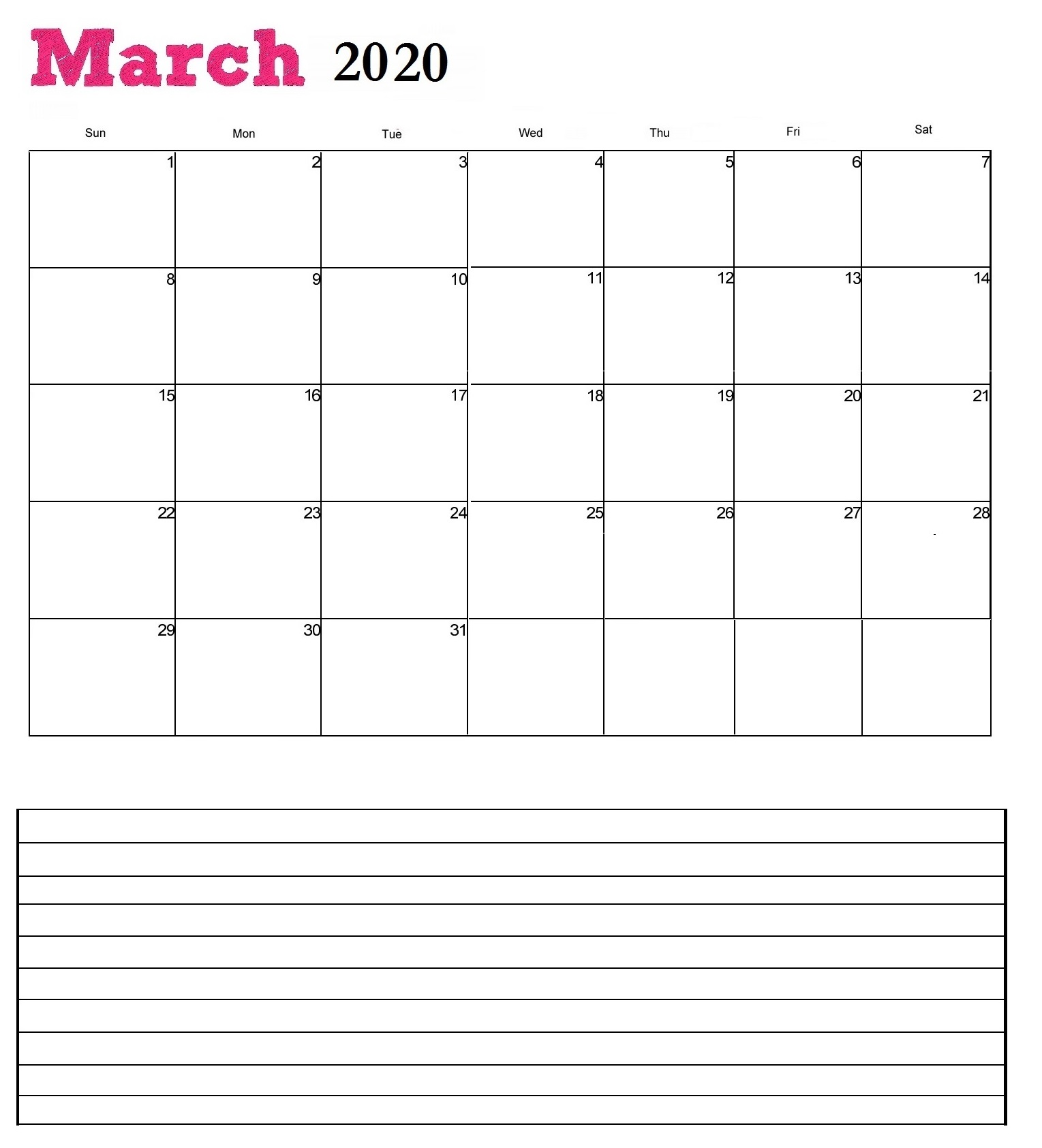 March 2020 Calendar for desk