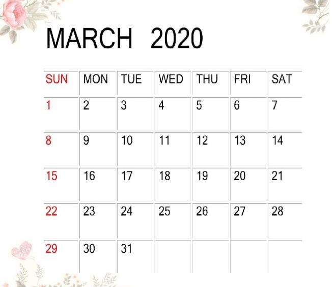 March 2020 Desk Calendar Design