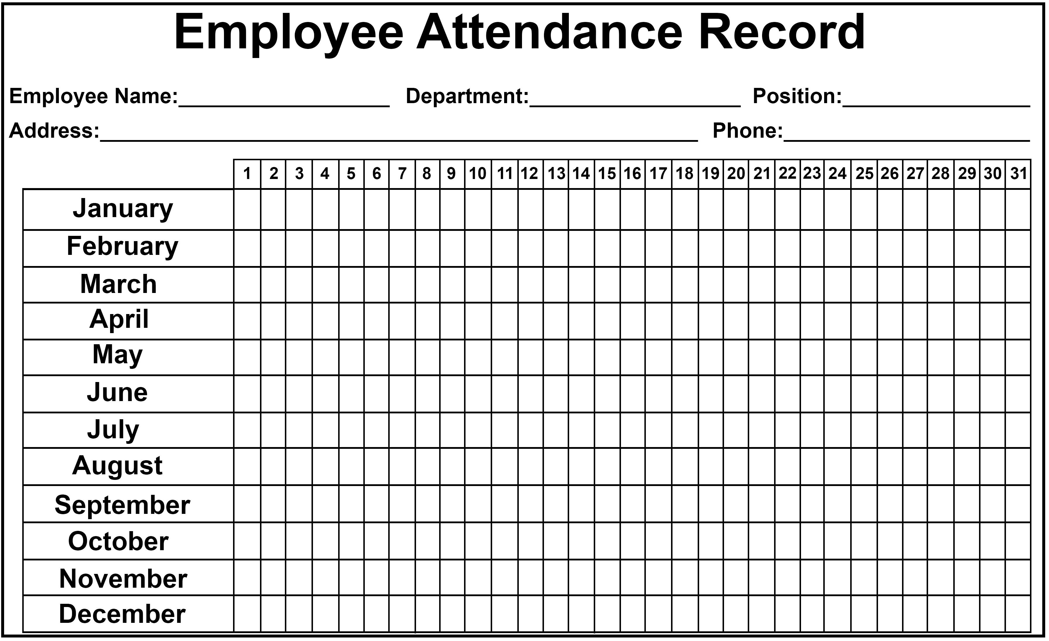 Monthly Attendance Calendar Template