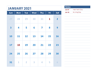 Monthly Fillable January Calendar 2021