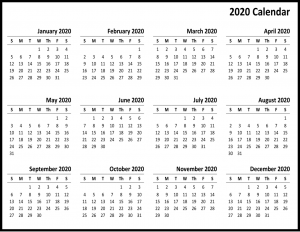 Monthly Free 2020 Printable Calendar