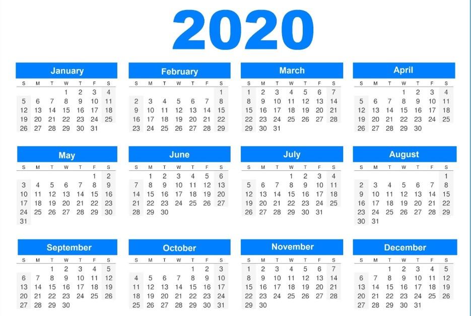 Printable 2020 Calendar Word