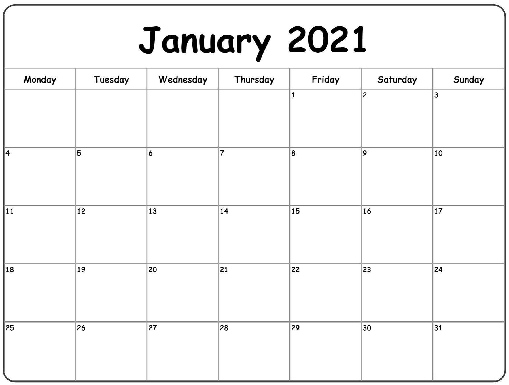 Printable Calendar Jan 2021