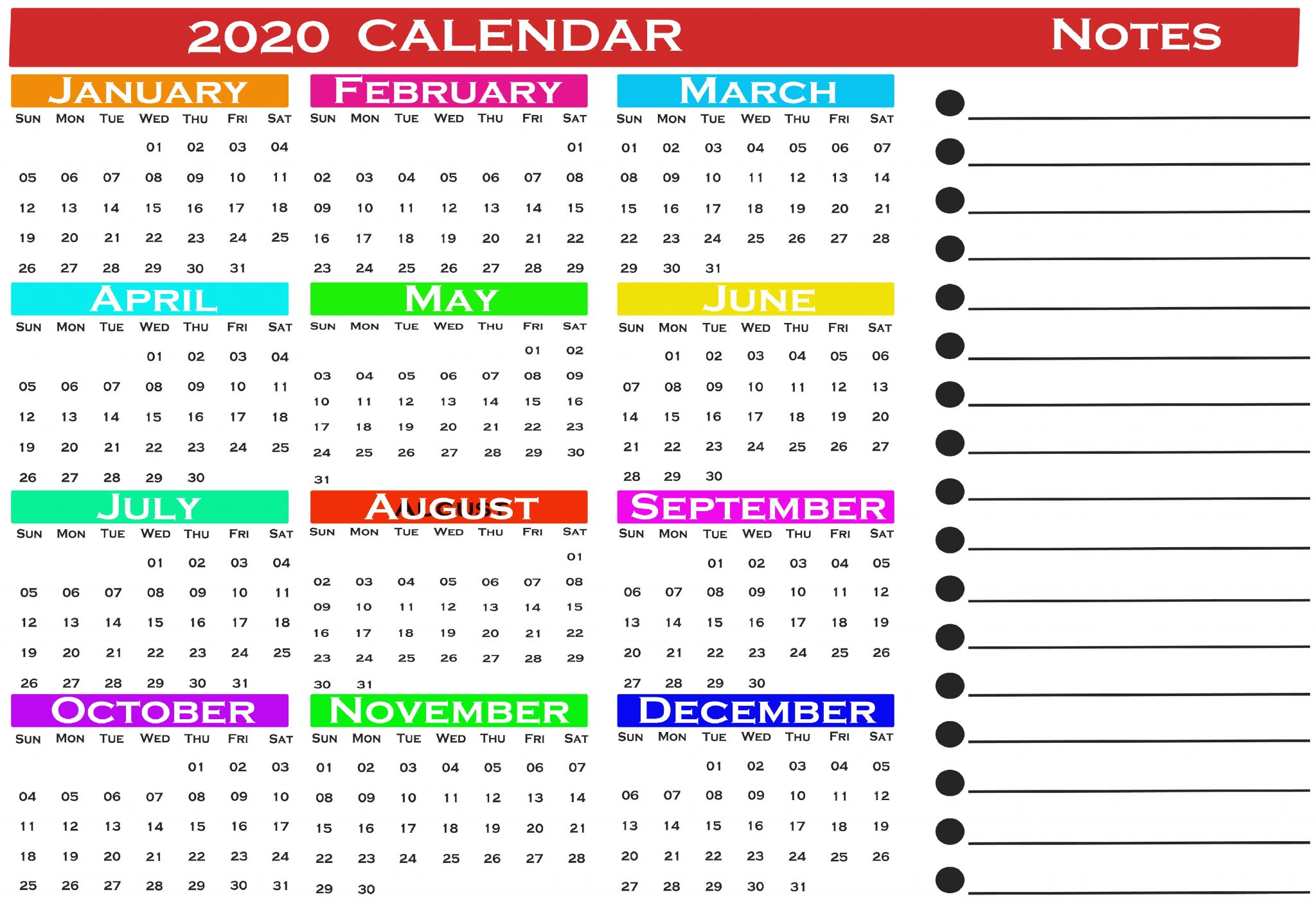 calendar 2020 printable with notes