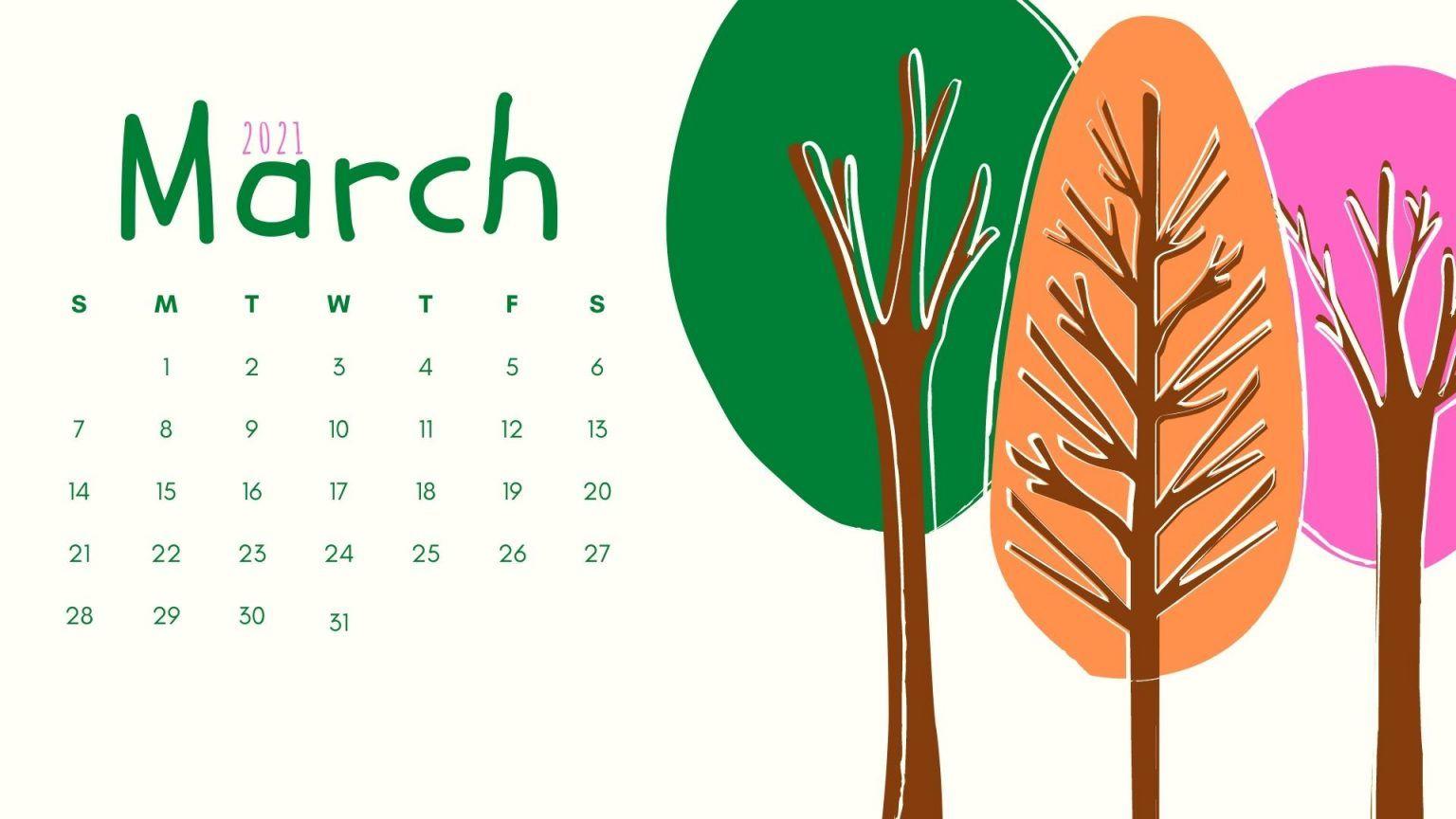 Classy March 2021 Calendar Wallpaper