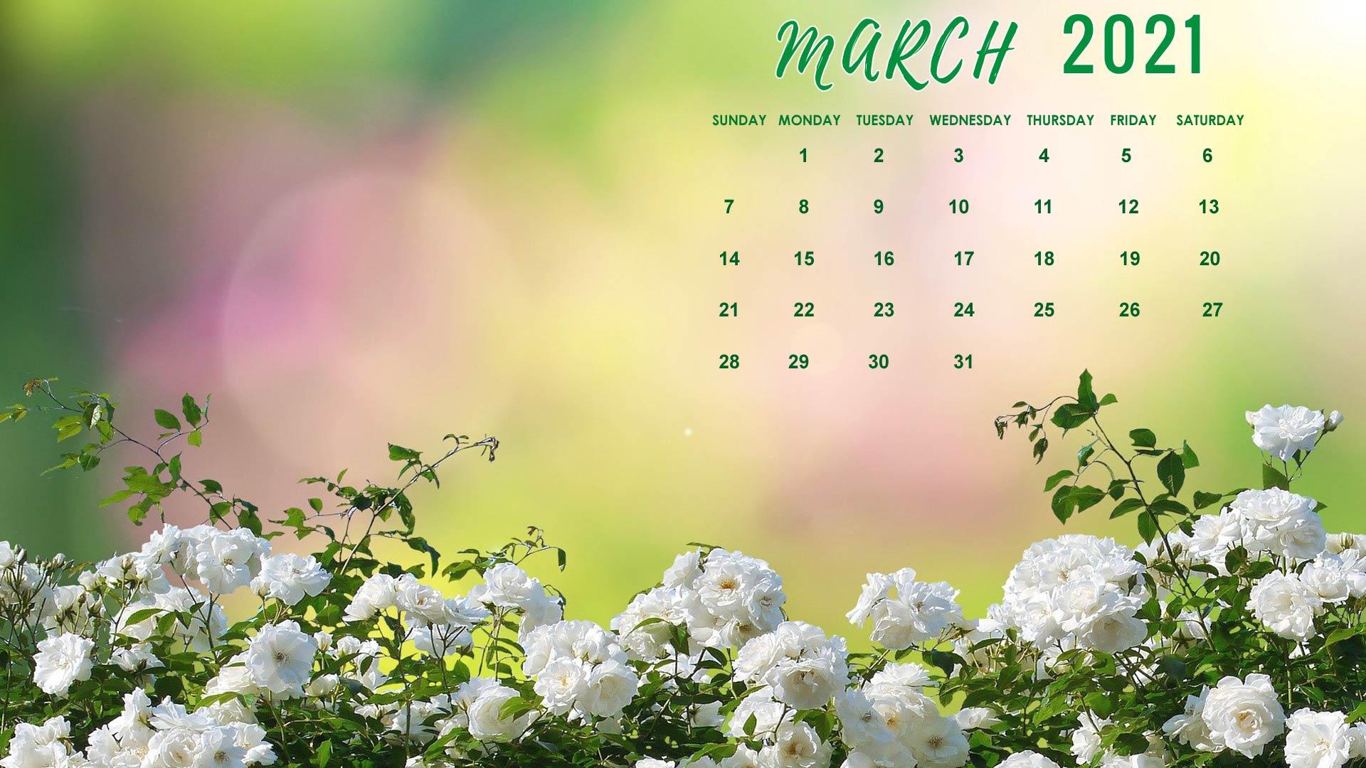 Cute Decorative March 2021 Calendar Wallpaper For Desktop, Laptop