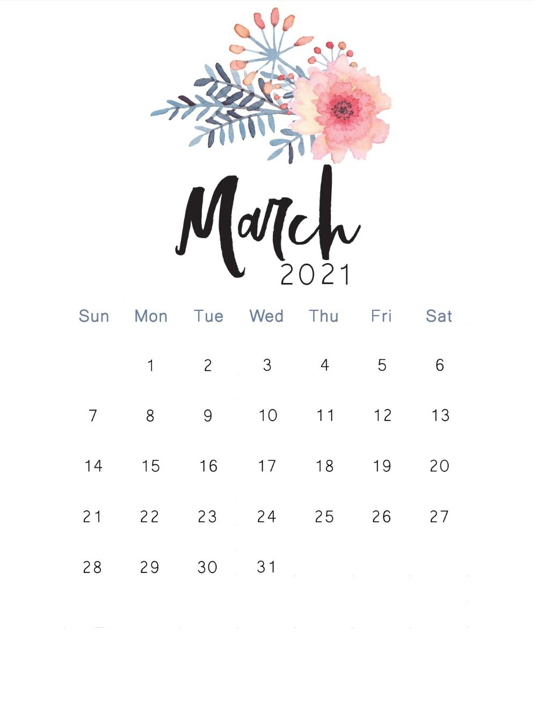 Cute Mar 2021 Calendar Decorative Template