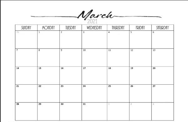 Decorative March 2021 Cute Calendar
