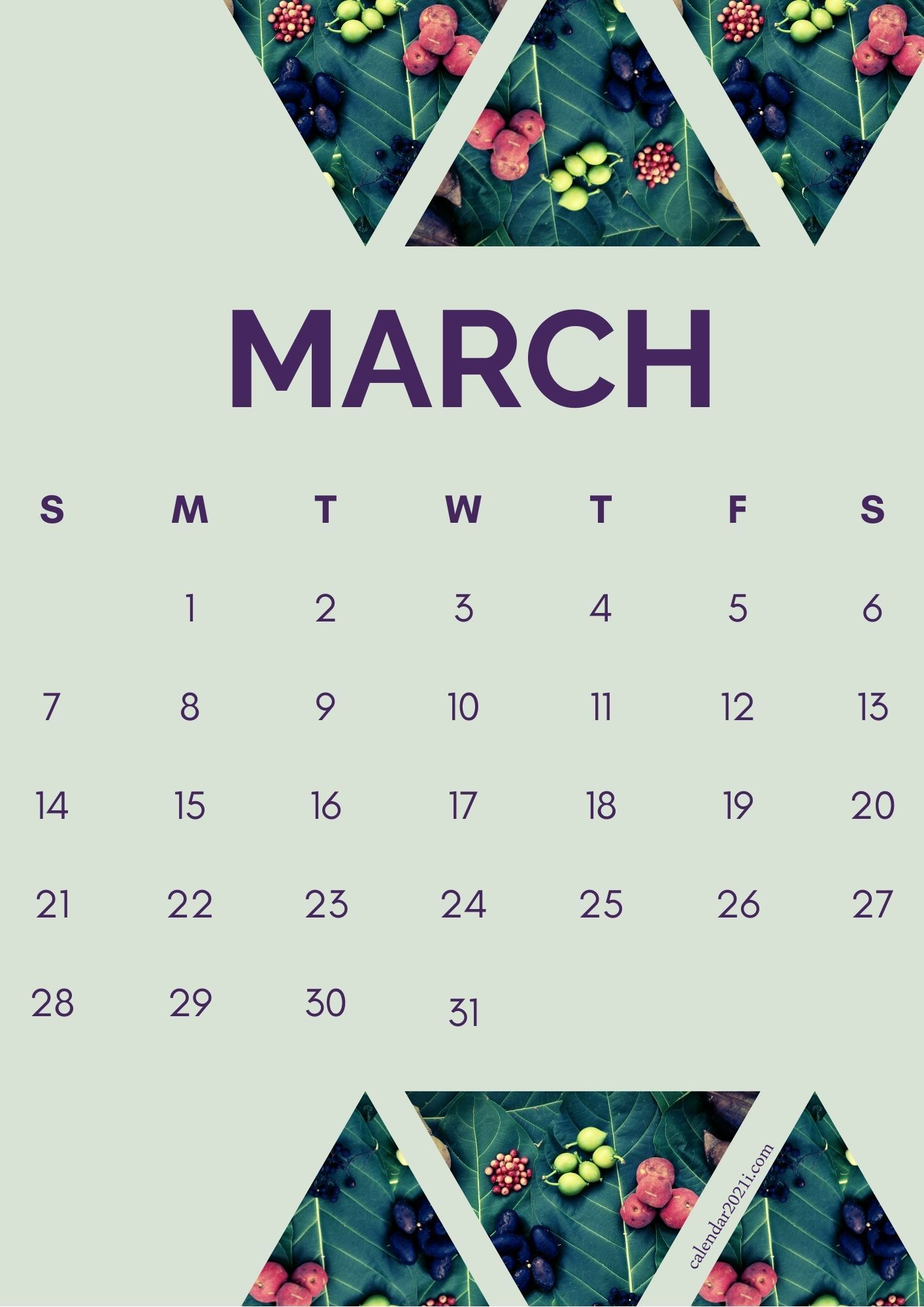 Decorative March 2021 Flower Calendar Printable