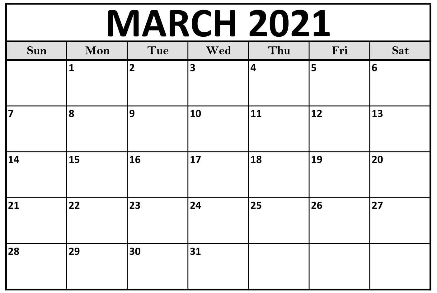 Free Download March Calendar 2021