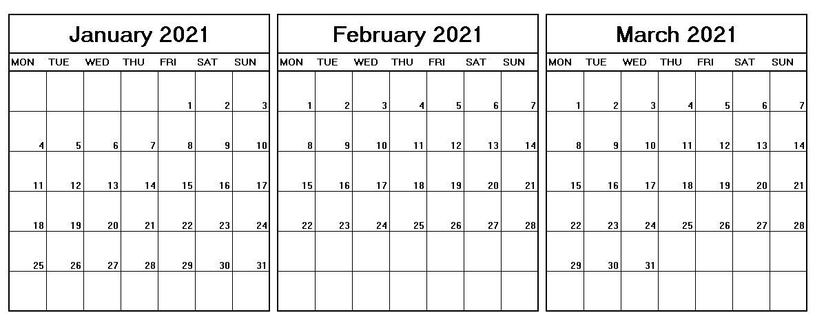 January February March 2021 Calendar