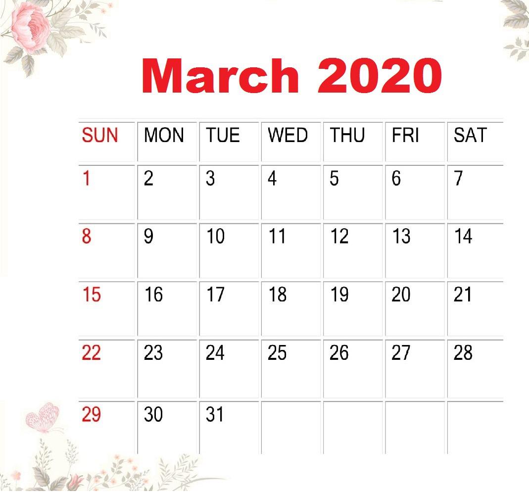 March 2020 Calendar Cute Design