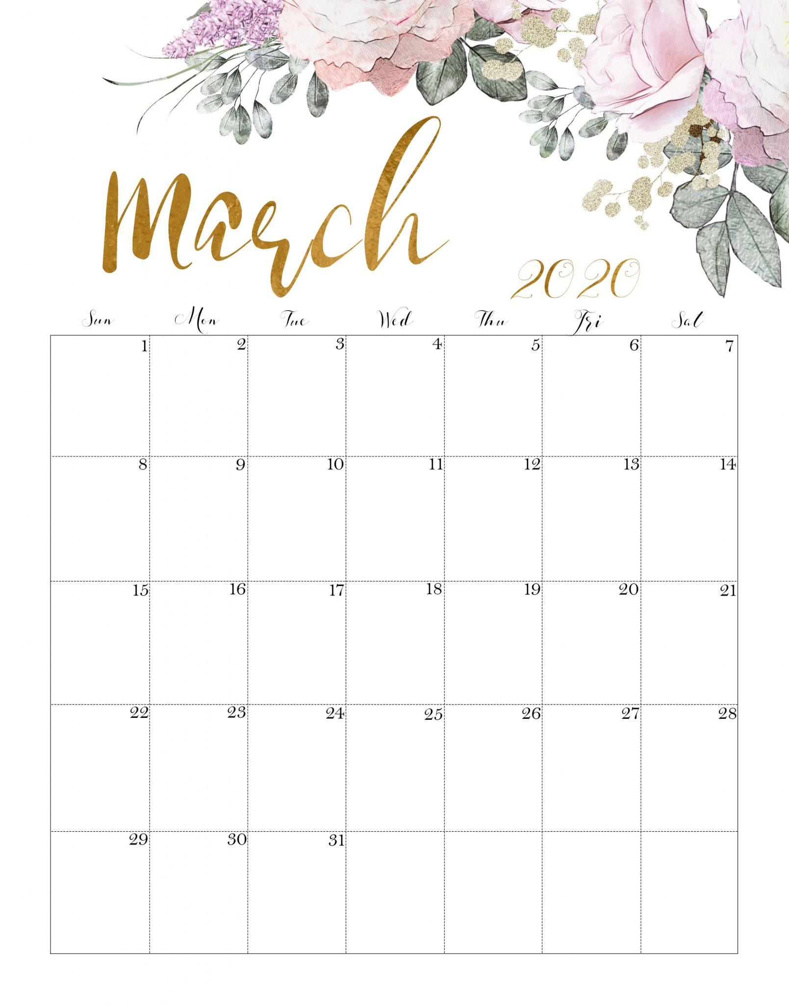 March 2020 Calendar Cute Printable