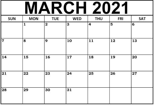March 2021 Calendar Plan Your Tasks