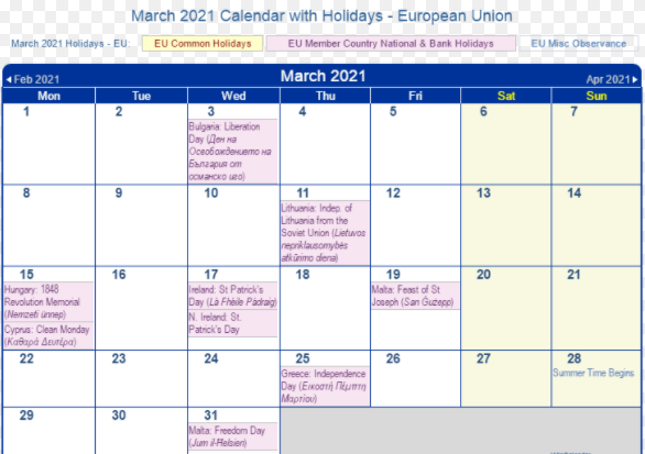March 2021 Calendar with Holidays European Union