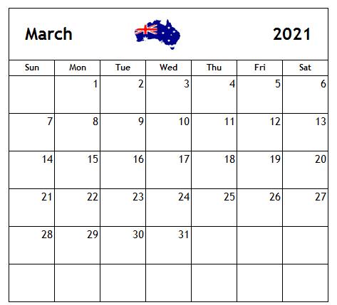 March 2021 Holidays Calendar Australia