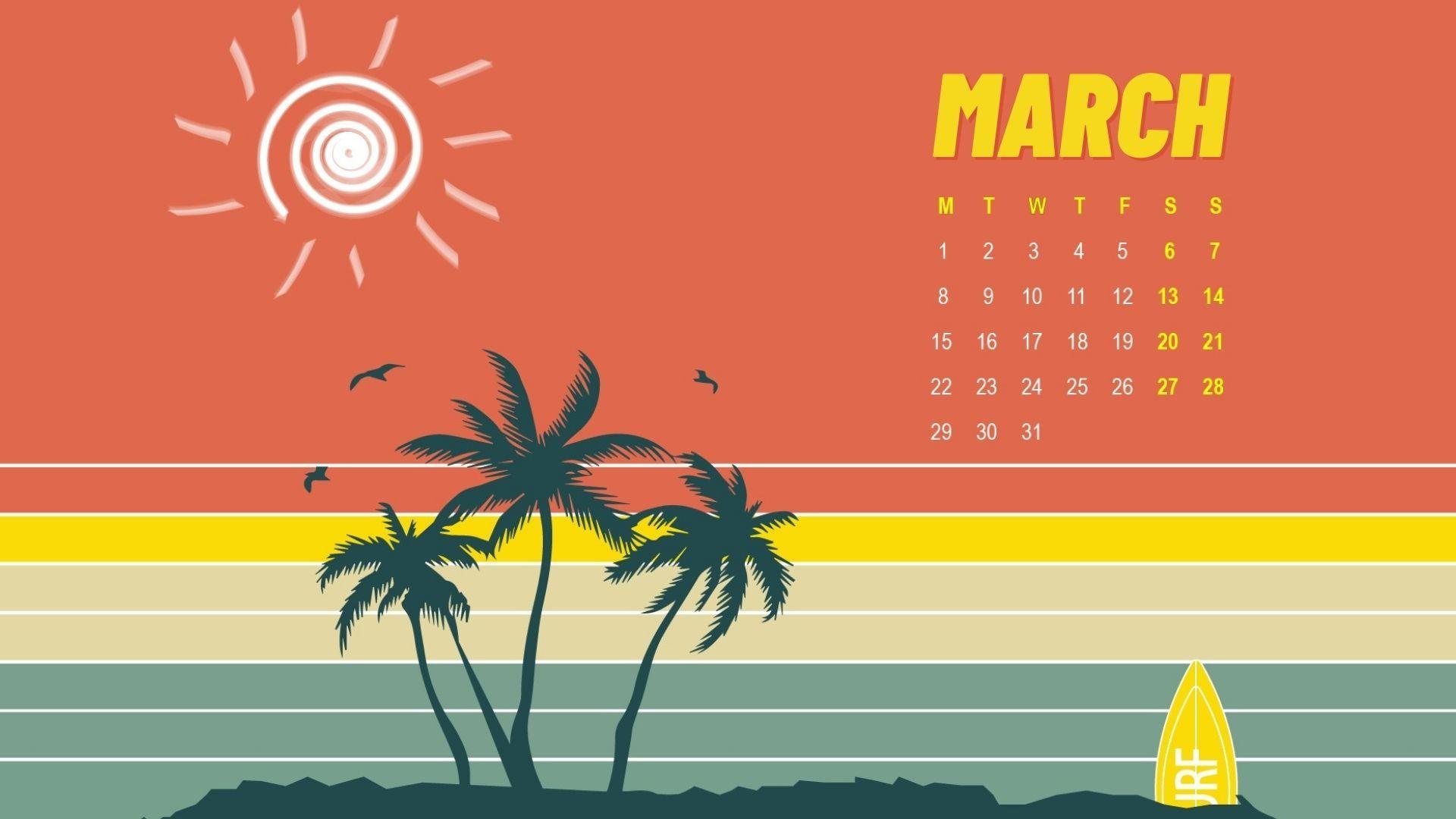 March 2021 Printable Decorative Calendar