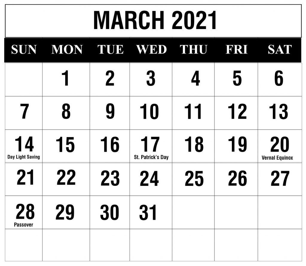 Printable Calendar 2021 March PDF Word Excel Template