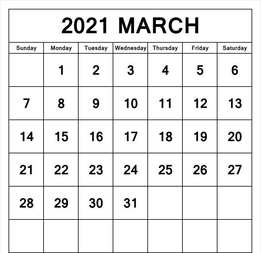 March 2021 Word Calendar Printable