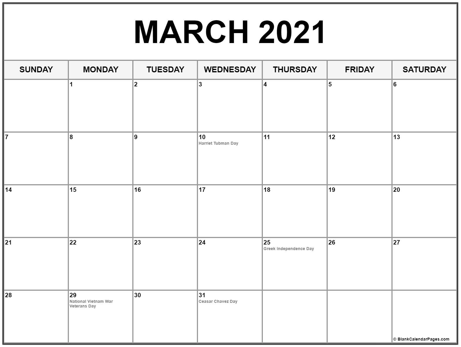 March 2021 Calendar With Holidays USA