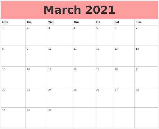 Print March 2021 Calendar Blank