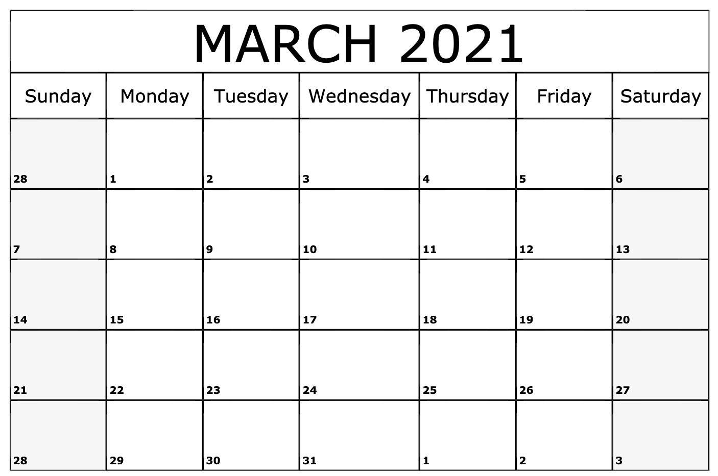 Printable 2021 March Month Calendar