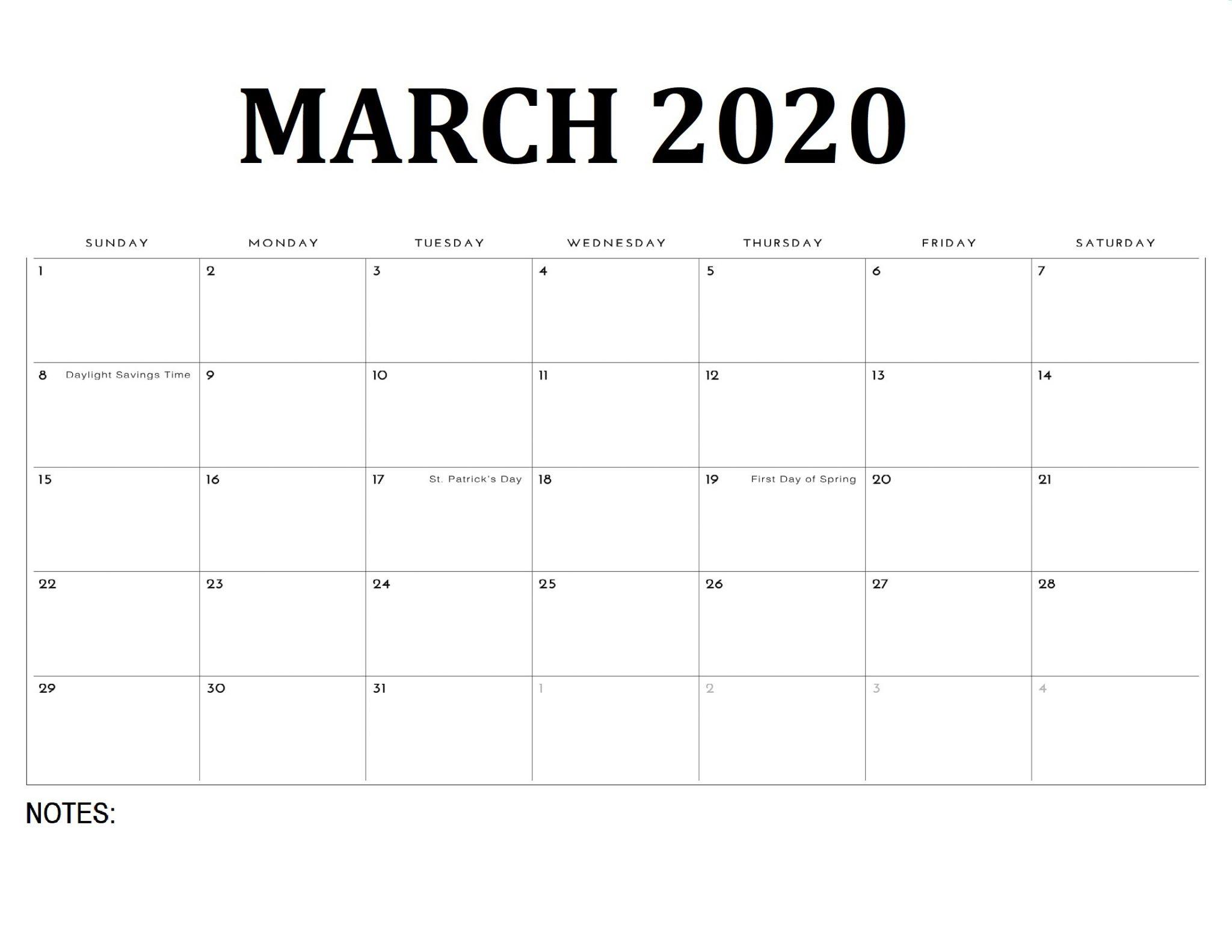Simple March 2020 Calendar Template