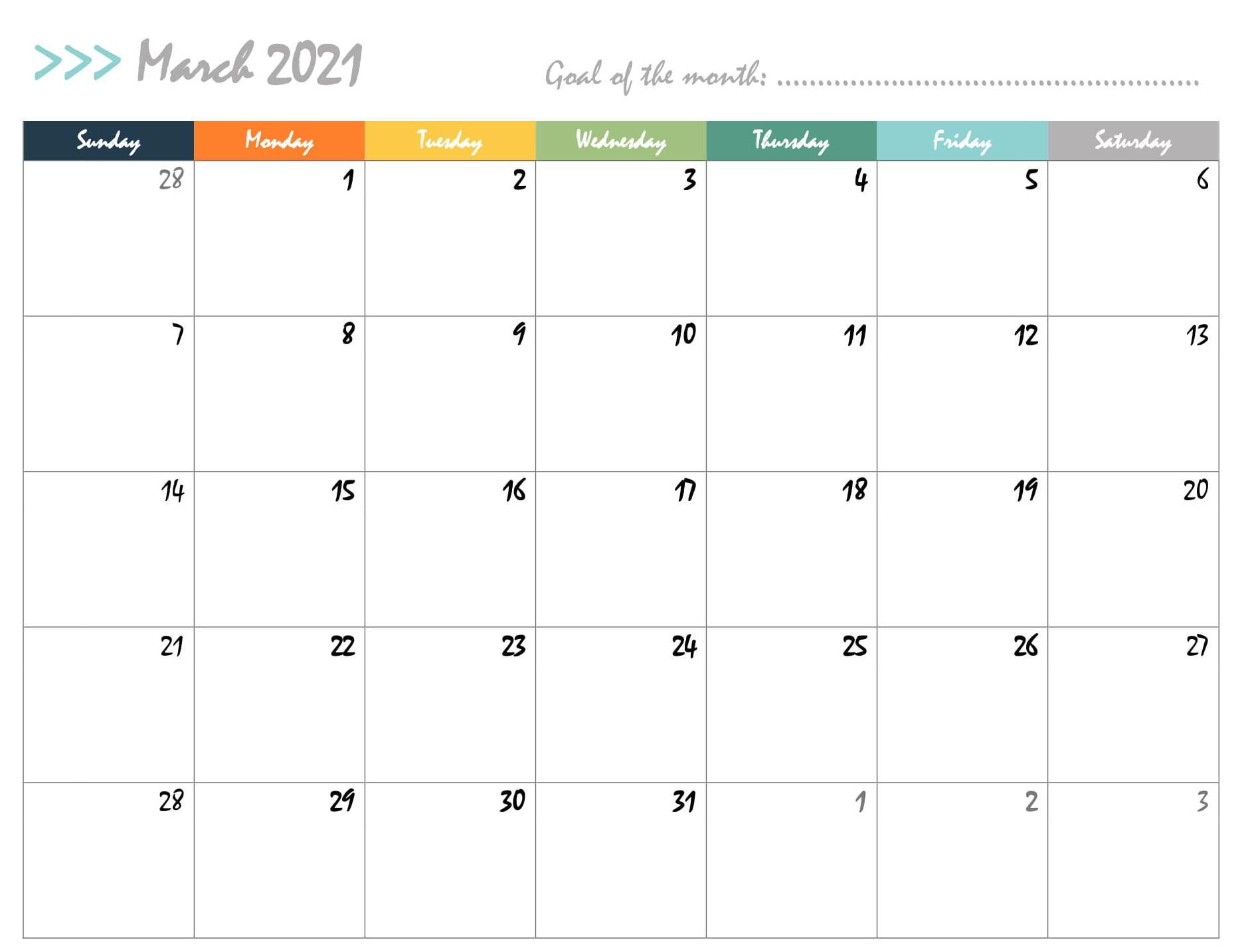 decorative march 2021 calendar for kids