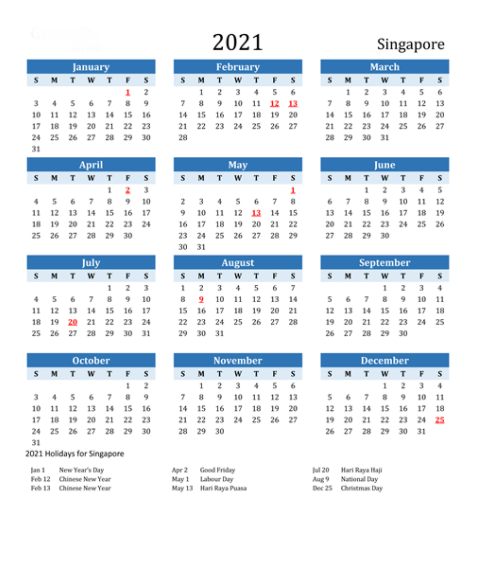 march 2021 calendar singapore with holidays