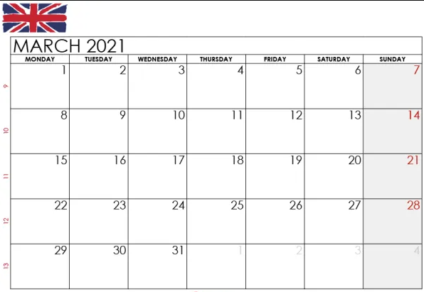 march 2021 uk calendar with Holidays