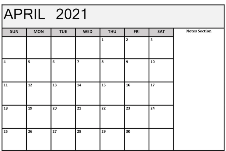April 2021 Notes Calendar Template