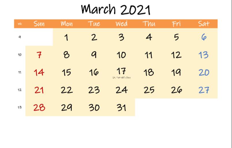 Calendar March 2021 Template
