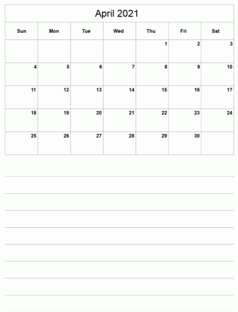 Fillable April 2021 Calendar Blank format