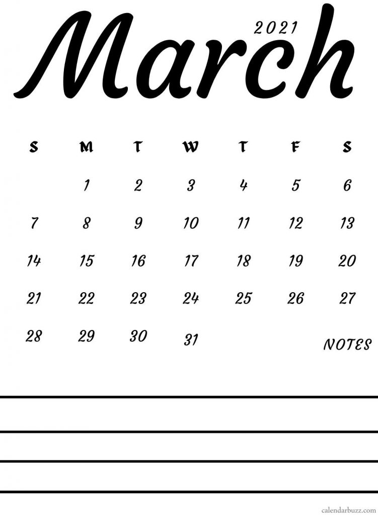 Fillable Calendar For March 2021 Printable
