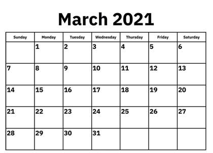 Free 2021 March Calendar