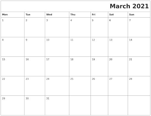 March 2021 Fillable Calendar