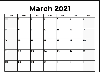 Monthly Calendar For March 2021