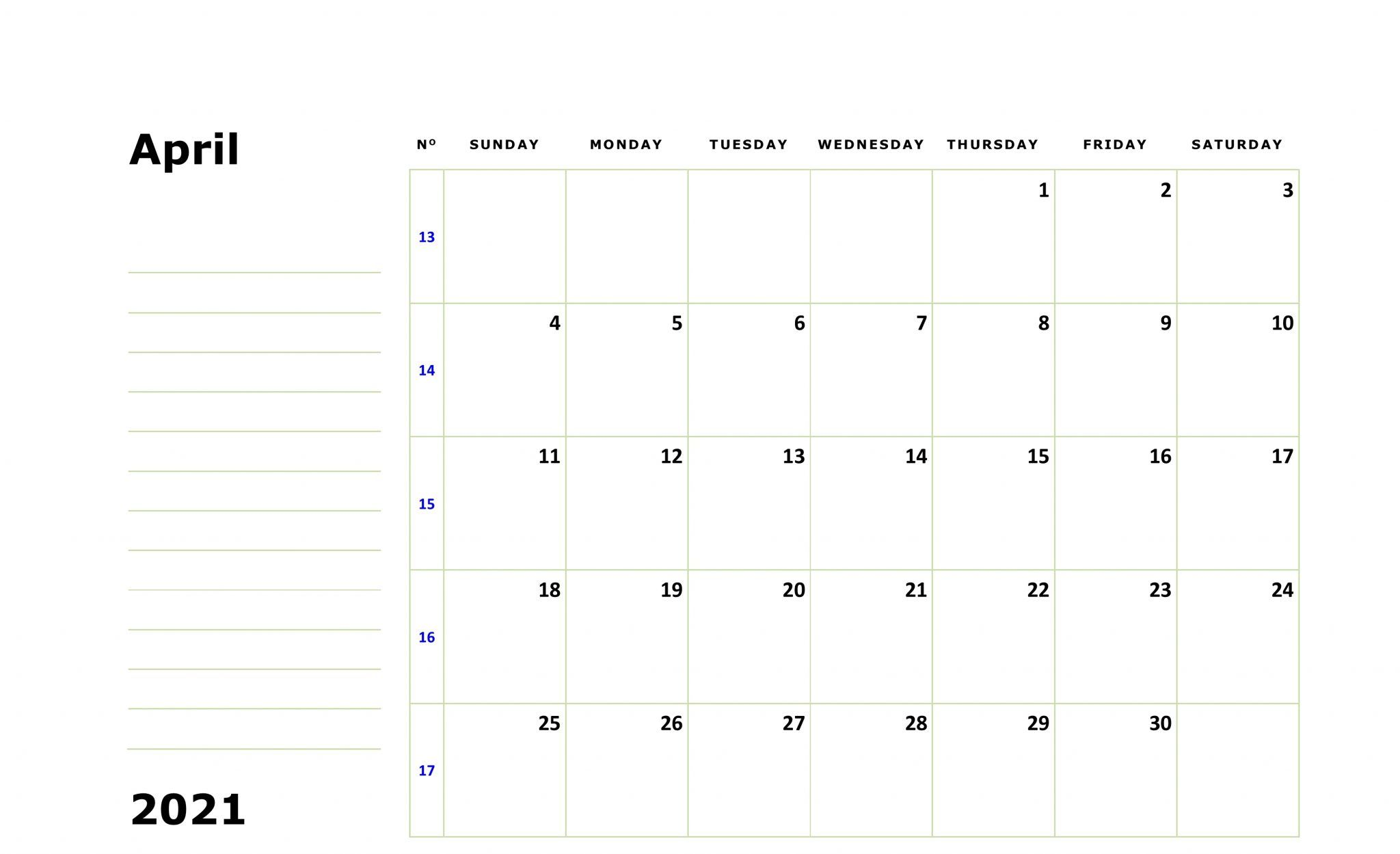 Print April 2021 Calendar Fillable