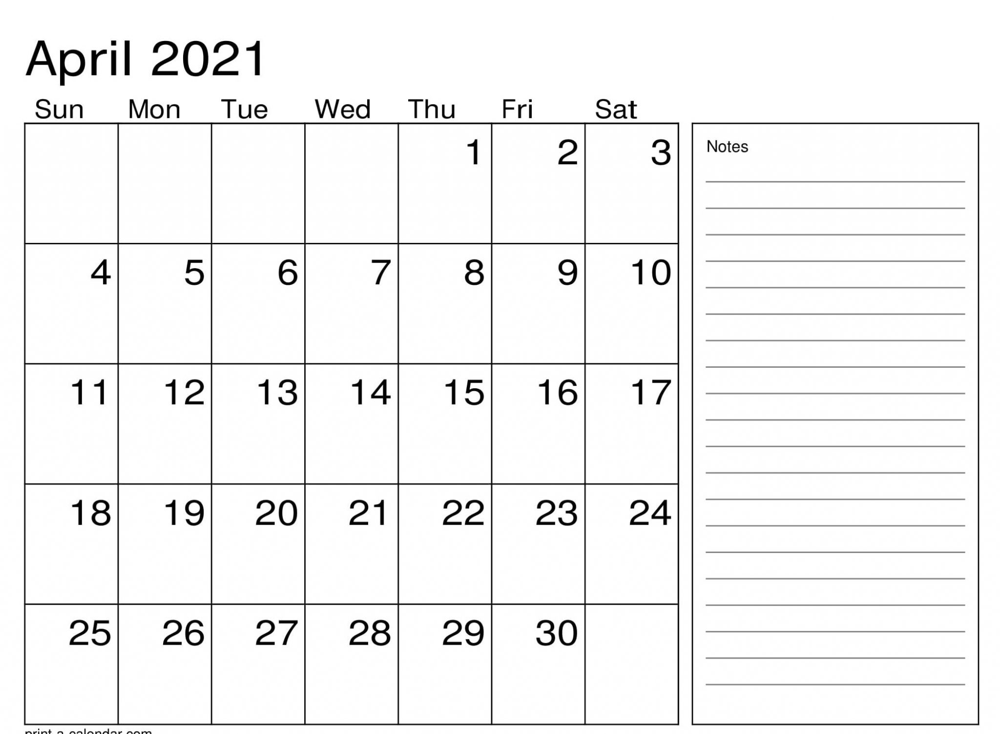 Printable Calendar 2021 April with Notes
