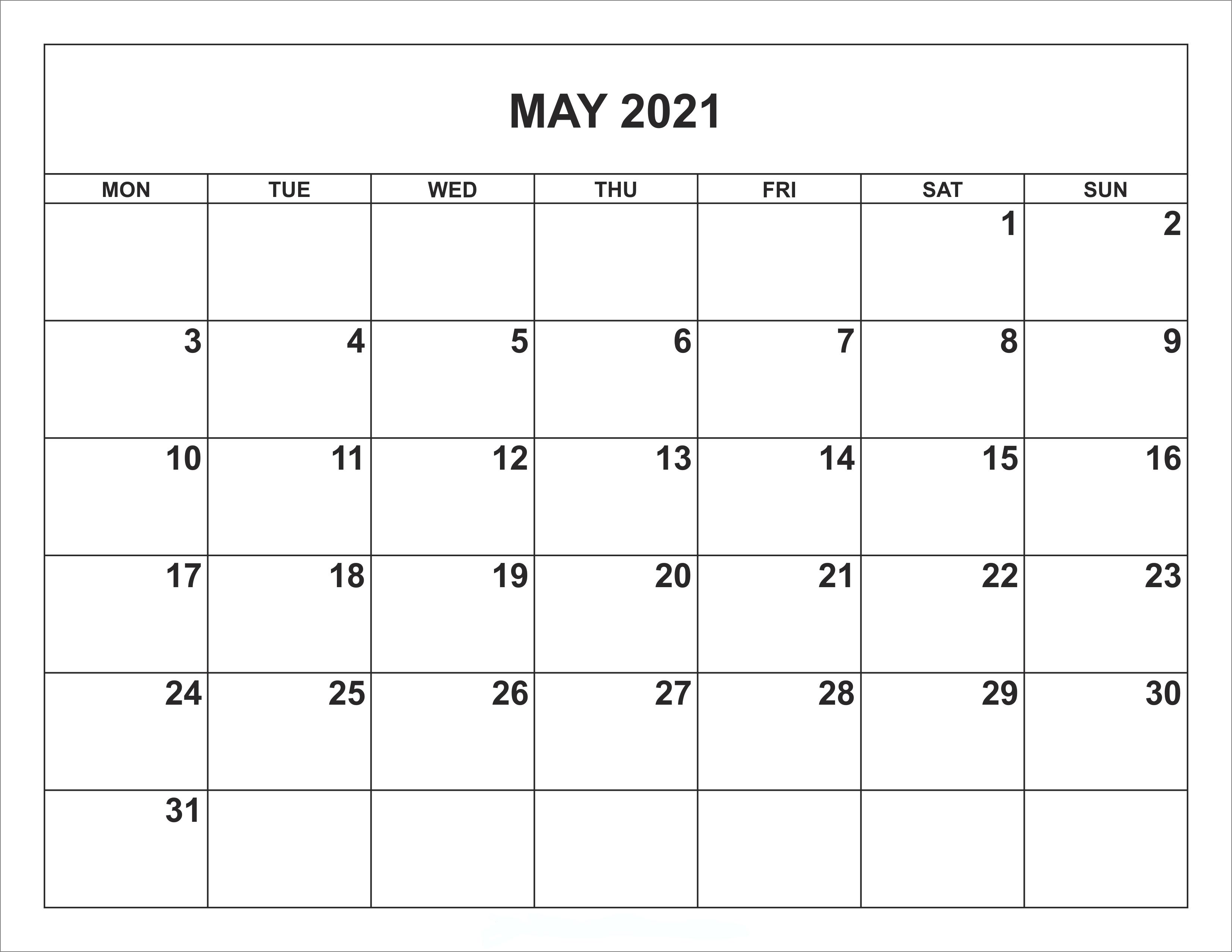 Calendar May 2021 To Print