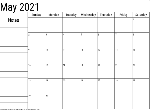 Fillable May 2021 Calendar with Notes