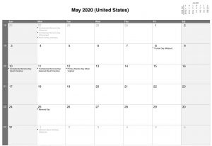 Lunar Calendar May 2020 with Moon Phases Template