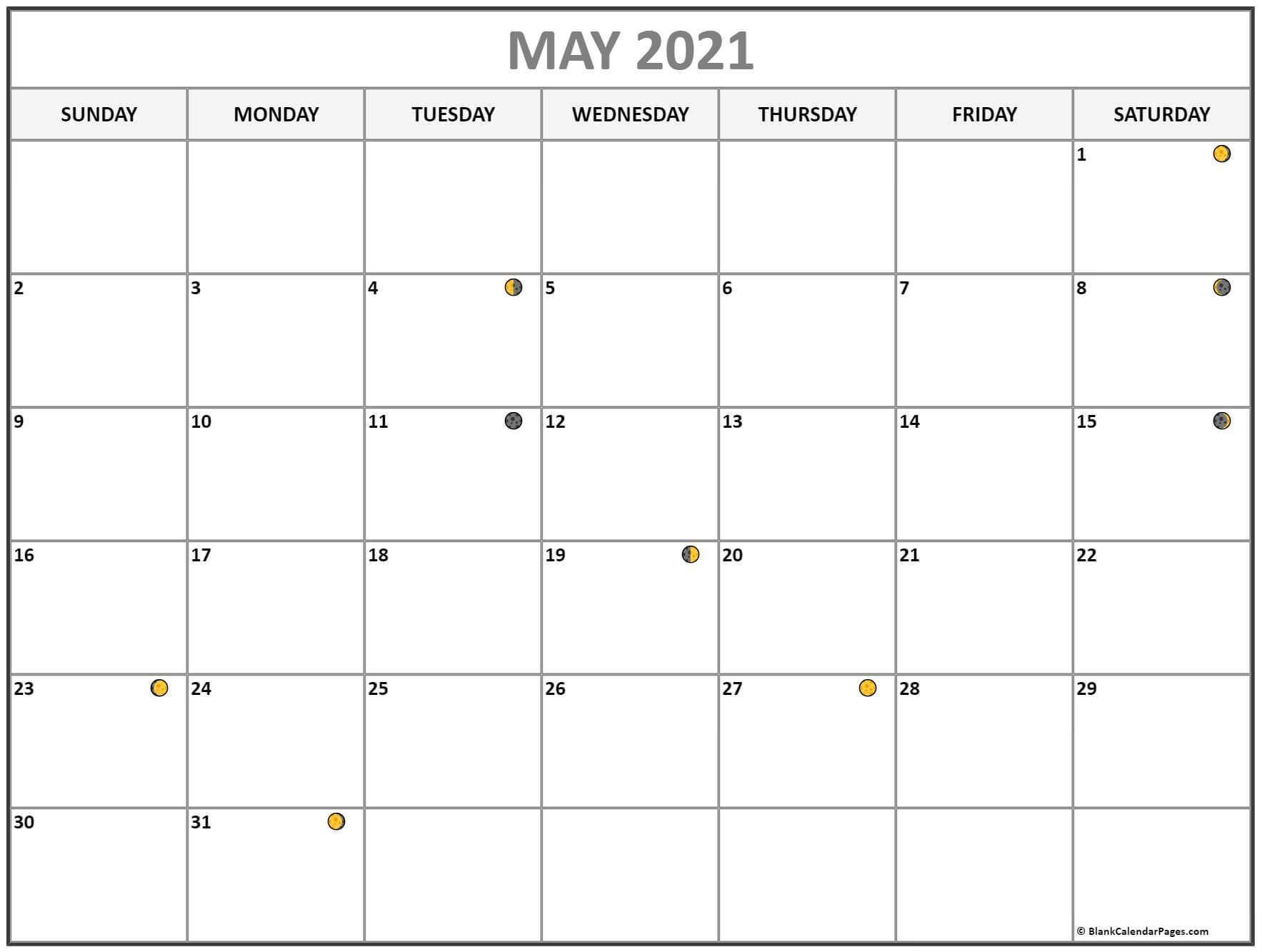 Lunar May 2021 Moon Phases Calendar
