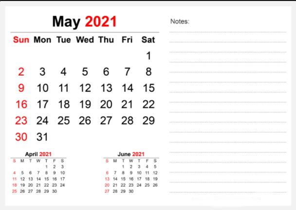 May 2021 Calendar Fillable To Print